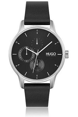 HUGO BOSS Horloge met zwarte wijzerplaat en leren polsband met geverfde rand