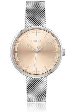 HUGO BOSS Horloge met polsband in meshlook en wijzerplaat met lichtgoudkleurig effect