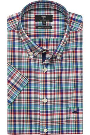Fynch-Hatton Heren Korte mouwen - Casual Fit Overhemd Korte mouw /turquoise, Ruit