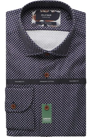 Olymp Heren Zakelijk - Soft Business Tailored Fit Overhemd nachtblauw, Motief