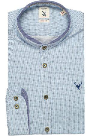 Pure Slim Fit Traditioneel overhemd lichtblauw, Motief