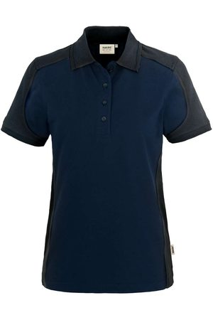 HAKRO Heren Poloshirts - 239 Regular Fit Dames Poloshirt donkerblauw/antraciet, Effen