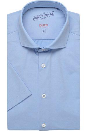 Pure Heren Korte mouwen - Functional Slim Fit Overhemd Korte mouw middenblauw, Effen