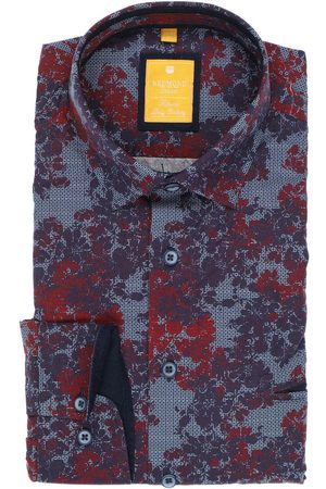 Redmond Heren Casual - Casual Modern Fit Overhemd bordeaux/ , Motief