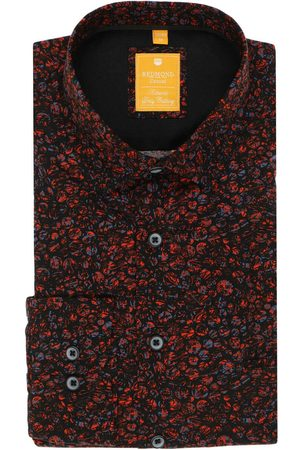 Redmond Heren Casual - Casual Modern Fit Overhemd donkerrood, Motief