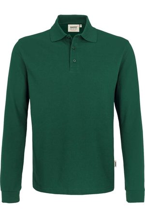 HAKRO Heren Lange mouw - 815 Comfort Fit Poloshirt lange mouw donkergroen, Effen