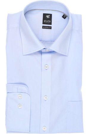 Pure Heren Lange mouwen - Modern Fit Overhemd lichtblauw, Effen