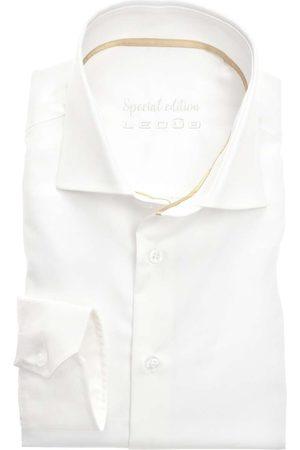 Ledub Heren Lange mouwen - Slim Fit Overhemd ecru, Effen