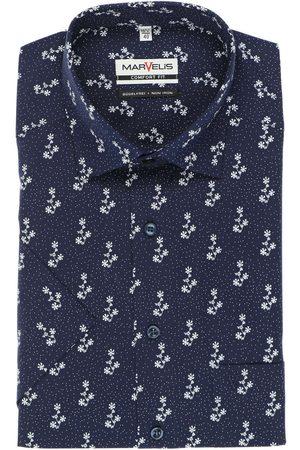 Marvelis Heren Korte mouwen - Comfort Fit Overhemd Korte mouw marine/ , Motief