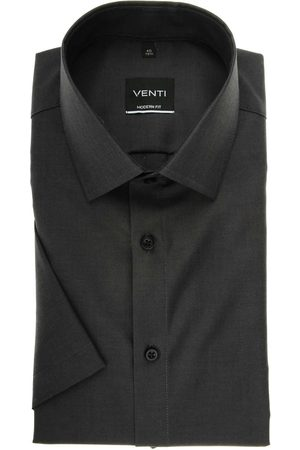 Venti Heren Korte mouwen - Modern Fit Overhemd Korte mouw antraciet, Effen