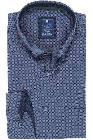 Redmond Heren Casual - Casual Regular Fit Overhemd donkerblauw/ , Motief