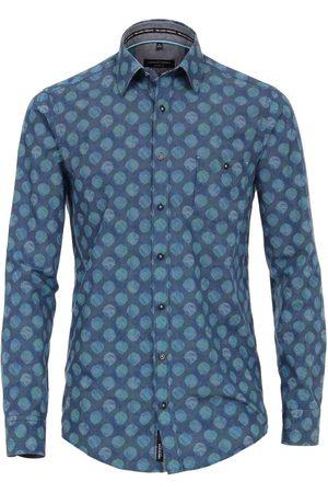 Casa Moda Heren Casual - Casual Fit Overhemd aqua/donkerblauw, Motief