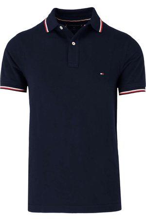 Tommy Hilfiger Heren Korte mouw - Slim Fit Polo shirt Korte mouw nachtblauw, Effen