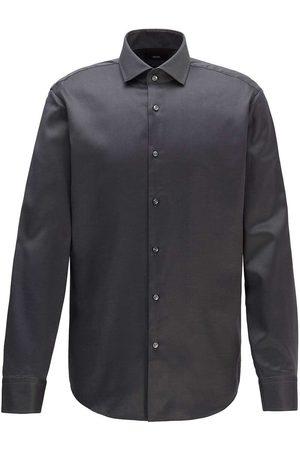 HUGO BOSS Heren Lange mouwen - Regular Fit Overhemd donkergrijs, Effen