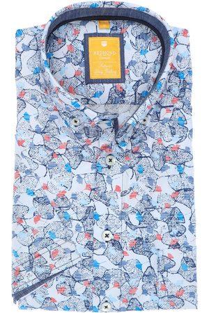 Redmond Heren Korte mouwen - Casual Modern Fit Overhemd Korte mouw /middenblauw, Motief