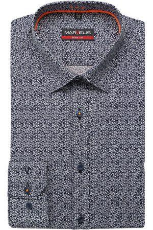 Marvelis Heren Lange mouwen - Body Fit Overhemd marine/ , Motief