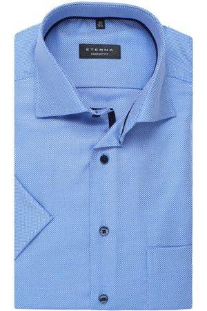 ETERNA Comfort Fit Overhemd Korte mouw korenbloemblauw, Gestructureerd