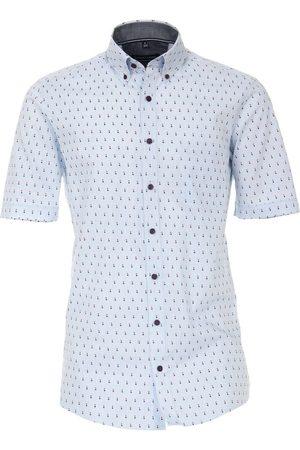 Casa Moda Heren Korte mouwen - Casual Comfort Fit Overhemd Korte mouw lichtblauw, Motief