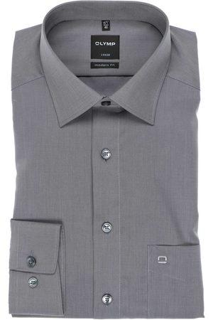 Olymp Heren Lange mouwen - Luxor Modern Fit Overhemd middengrijs, Effen