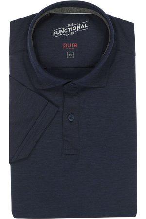 Pure Slim Fit Polo shirt Korte mouw marine, Effen