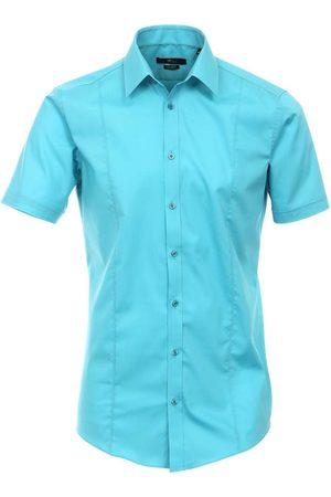 Venti Heren Korte mouwen - Body Fit Overhemd Korte mouw turquoise, Faux-uni