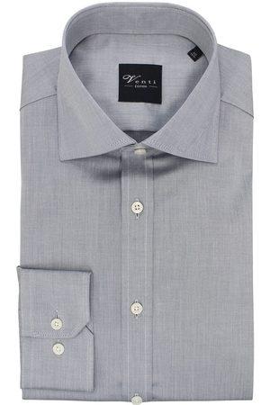 Venti Heren Lange mouwen - Modern Fit Overhemd zilvergrijs, Effen