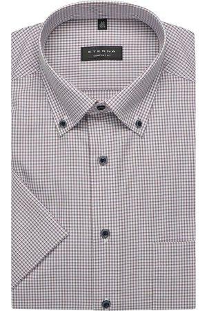 ETERNA Heren Korte mouwen - Comfort Fit Overhemd Korte mouw /lichtblauw, Ruit