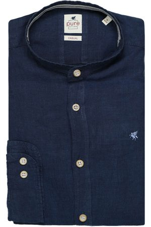 Pure Heren Overhemden - Slim Fit Overhemd marine, Effen