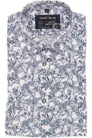 Marvelis Heren Korte mouwen - Casual Modern Fit Overhemd Korte mouw marine/ , Bloemen