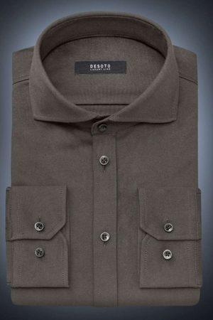 DESOTO Luxury Slim Fit Jersey shirt kaki, Effen