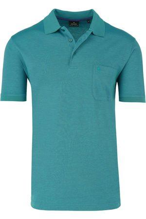 Ragman Heren Korte mouw - Regular Fit Polo shirt Korte mouw turquoise, Effen