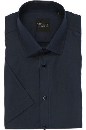 Venti Modern Fit Overhemd Korte mouw donkerblauw, Effen