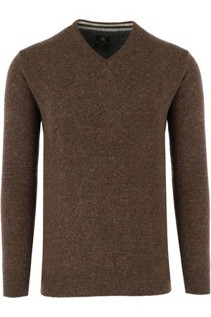 Kitaro Heren Casual - Casual Fit Trui V-halswijnrood, Effen