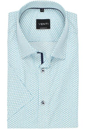 Venti Modern Fit Overhemd Korte mouw turquoise, Motief
