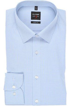 Olymp Heren Lange mouwen - Level Five Body Fit Overhemd lichtblauw/ , Vichy ruit