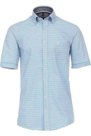 Casa Moda Heren Korte mouwen - Comfort Fit Overhemd Korte mouw turquoise, Gestreept