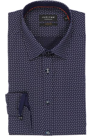 Jupiter Heren Lange mouwen - Slim Fit Overhemd donkerblauw/ , Motief