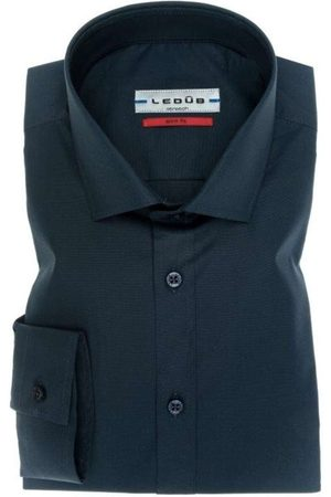 Ledub Heren Lange mouwen - Slim Fit Overhemd marine, Effen