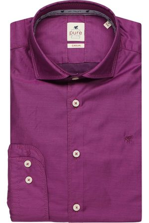 Pure Heren Casual - Casual Slim Fit Overhemd , Effen