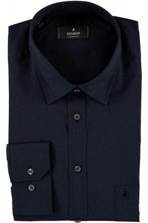 Ragman Heren Lange mouwen - Regular Fit Overhemd donkerblauw, Motief