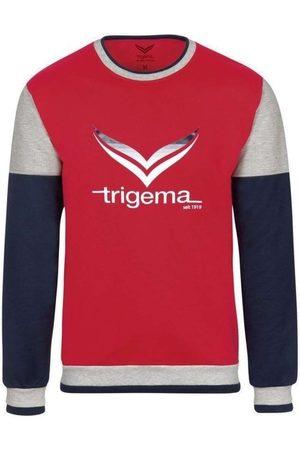 Trigema Heren Lange mouw - Comfort Fit Sweatshirt ronde halsrood/ , Bedrukt