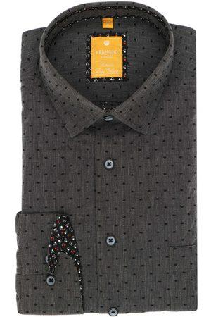 Redmond Heren Casual - Casual Modern Fit Overhemd antraciet, Motief