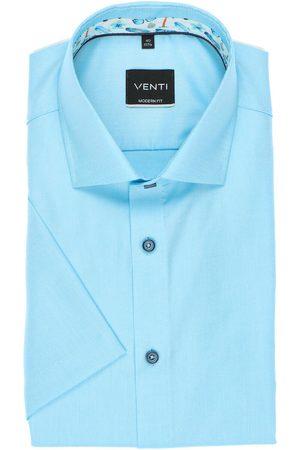 Venti Heren Korte mouwen - Modern Fit Overhemd Korte mouw turquoise, Effen