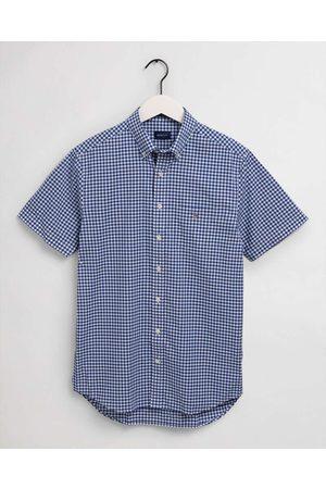 GANT Regular Fit Overhemd Korte mouw lichtblauw, Ruit