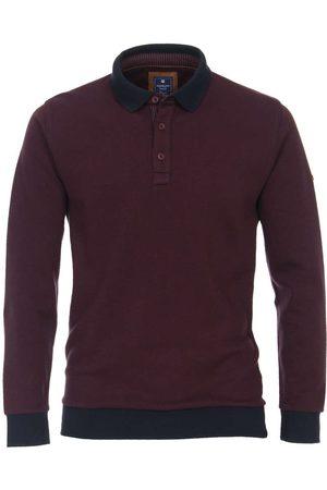 Redmond Casual Regular Fit Poloshirt lange mouw bordeaux, Herringbone