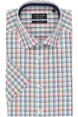 Jupiter Heren Korte mouwen - Regular Fit Overhemd Korte mouw lichtrood, Ruit