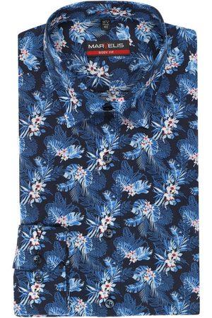Marvelis Heren Lange mouwen - Body Fit Overhemd marine/ , Bloemen