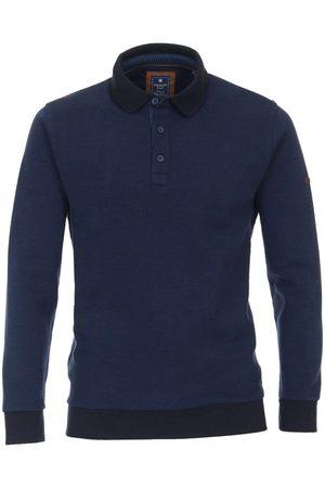 Redmond Heren Lange mouw - Casual Regular Fit Poloshirt lange mouw donkerblauw, Herringbone