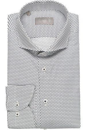 fakts Heren Lange mouwen - Leisure Slim Fit Overhemd marine/ , Motief