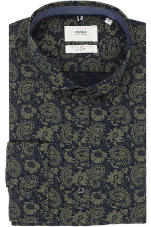 Brax Heren Lange mouwen - Modern Fit Overhemd olijf, Motief